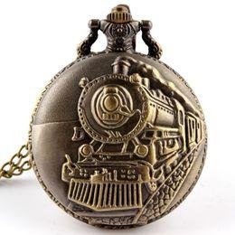 Wholesale Train Pocket Watch Chain - Unique Retro Bronze Train Front Locomotive Engine Design Necklace Pendant Quartz Pocket Watch with FOB Chain Mens Womens Gifts