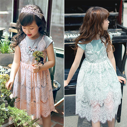Wholesale Korean Two Piece Dresses - Korean Girls Dress Lace Dress Cotton Short Sleeve Fake Two Pieces Kids Clothing Dress New Summer Big Girl Party Dressy Pink Green A6242