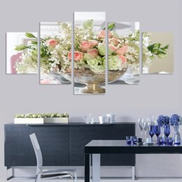 Hot Sell Frameless Flowers Oil Paintings For Living Room Or Restaurant 5 Pieces Canvas Art Wall Poster Landscape Home Decor