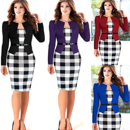Wholesale Woman Wearing Business Suits - 4 Colors 2017 New Fashion Europe Patchwork Plaid Long Sleeve Workwear Business Office Dress Outfit Suits