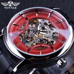 Ganador Rojo Moda Elegante Esqueleto Diamante Diseño de lujo para hombre Relojes de primeras marcas de lujo Reloj de pulsera masculino Reloj mecánico Reloj desde fabricantes
