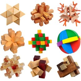Wholesale Luban Block - 64pcs lot Luban Lock Chinese Traditional Toy Unique 3D Wooden Blocks Classical Intellectual Wooden Cube Educational Toy Set
