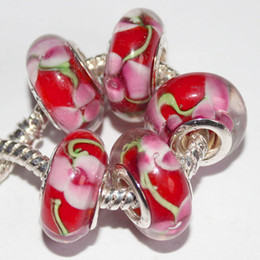 Wholesale European Beads Glass Red - 5Pcs 925 Sterling Silver Pink Flower Red Murano Lampwork Glass Charm Beads For Pandora European Jewelry Charms Bracelet DIY Woman Xmas