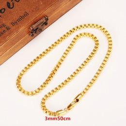 Wholesale Necklace Box Brand - 50cm 3mm Brand Ethiopian Square 24k Yellow Fine Gold GF Thick Necklaces Box Bicycle Chain Dubai Arab