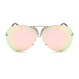 Wholesale Gold Aviators - Rimless Gold Pink Men Women 2017 Brand Designer Aviator Clear Sunglasses Big Frame Sexy Sun Glasses Oversize Lunette Femme Shades Luxury
