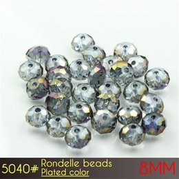 Wholesale Circle Wedding Dresses - Crystal Beads for Wedding Dress of Rondelle Ball Beads 8mm Plated colors A5040 72pcs set more Plated colors