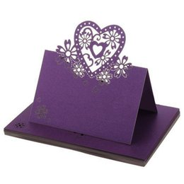 Wholesale Name Decor - 12pcs Love Heart Lace Wedding Table Decor Place Name Cards