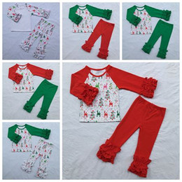 Wholesale Childrens Fall Outfits - christmas toddler clothes girls boutique sets baby ruffle sleeve shirt + deer ruffle pants childrens outfits cotton kid fall autumn clothing