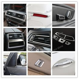 Wholesale Air Conditioning Vent Accessories - Car Styling ABS Air Condition Vent and Door Handle Cover Decoration Trim Accessories For BMW 5 Series chrome Stick