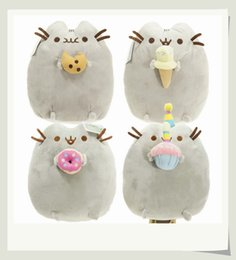 "Wholesale Plush Stuffed Animals Free Shipping - 10PCS LOT 4 Different styles 6"" 15CM Pusheen Cookie & Icecream & Doughnut Cat Plush Stuffed Animal Doll Toy Free Shipping"