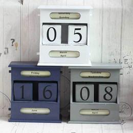 European Style Retro Living Room Ornaments Home Decor Creative Calendar Calendar Wood Diy Yearly Planner Calender Deco Month Day Za3116