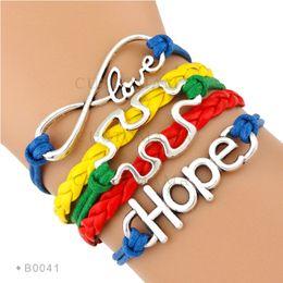 Wholesale Ribbon Autism - Custom - Autism Speaks puzzle Bracelet Infinity Love Ribbon Hope charm Red Yellow Blue Green Custom Drop shipping