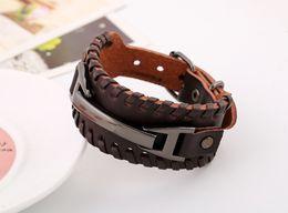 Wholesale Wrist Cuff Punk - Fashion Braided Rope Belt Leather Wrist Punk Cool Big Wide Bracelet bangles for Men Buckle Vintage Jewelry Gift