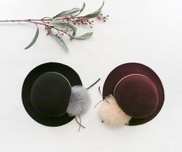 Wholesale Kids Fedora Hats Wholesale - Girls woolen Hat children fur pompon bows Cap kids party hats Children Accessories Kids hat fedora big girls hats black red A0590