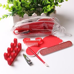 Wholesale Red Manicure - 7Pcs Personal Pedicure Manicure Nail Care Set In A Travelling Bag Nail Art Tools Emery Board Cuticle Pusher Clipper Brush Toe Separators