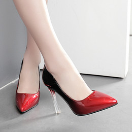 Wholesale Transparent Pointed Toe Heels - 2017 gradient color pointed toe transparent crystal pumps sexy high heels red wedding shoes 10cm size 34 to 39