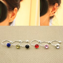 Wholesale Wholesale Stud Screw Back Earrings - 6Pairs Fashion Non Piercing Ear Clip On U Crystal Rhinestone Stud Earrings Nose Lip Ring Ear Cuff Jewelry 6 Colors