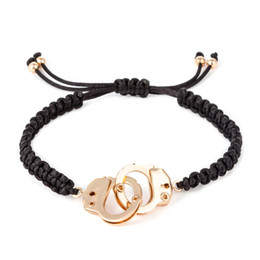 Wholesale Men Bracelet Jade - Wholesale- New arrival Handmade Handcuffs Bracelet In alloy Men Bracelet Masculina Charms Jade line Bracelet Crime Jewelry Valentine's Day