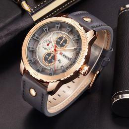 Wholesale Curren Leather - Curren 8206 Luxury Brand Quartz Watch Casual Fashion Leather Watches Reloj Masculino Men Sports Wholesale Watches