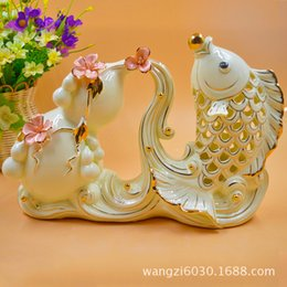 Wholesale Pole For Fishing - 2015 New Product Ceramics Arts And Crafts 2238 Froude More Than Gourd Fish Goods Of Furniture For Display Rather Than For Use Gift