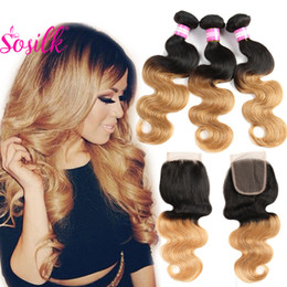 Wholesale Cheap Two Tone Brazilian Hair - Two Tone Ombre Human Hair Bundle With Lace Closure Cheap Blonde 1B 27 Brazilian Hair With 4X4 Closure Wet And Wavy Hair 3 Pcs With Closure
