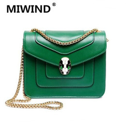 Wholesale Skull Bag Mini - Wholesale-Women Famous Brand Small Leather Clutch Crossbody Bags Vintages Mini Green Chains Snake Skull Flap Messenger Bag Bolsas
