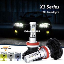Wholesale toyota bulb h11 - Auxbeam CREE CSP Chips H11 Car Bulbs Led Head Light Kits Single Beam Fanless Led Auto Fog Lamps 3000K 6500K For SUV Toyota Honda
