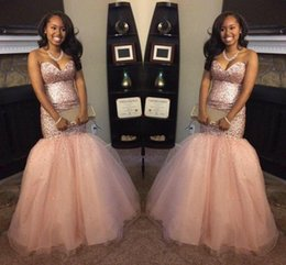 Wholesale peach mermaid prom dresses - Peach Blingbling Sequins South Africa Black Girl Backless Mermaid Prom Dresses 2017 Sweetheart Backless intage Aso Ebi Evening Gowns