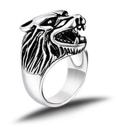 Wholesale Wolf Band Ring - B025 Hot style New Fashion Titanium steel men's ring domineering personality wolf head ring burst stainless steel Ring
