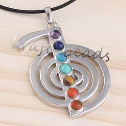 Wholesale Trendy Natural Stones - Wholesale- UMY Popular Silver Plated 7 Beads Energy Symbol Pendant Healing Stone Chakra Pendant Charm Jewelry