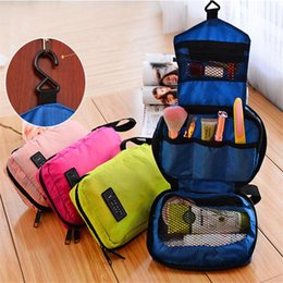 Wholesale Door Bags Holder - Wholesale-Portable Cosmetic Case Travel Makeup bags Toiletry Hanging Purse Holder Beauty Wash Make Up Bags Organizer With Hook A0694
