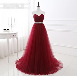 Wholesale Cheap Sequin Corset Prom Dress - Burgundy Prom Dresses 2017 Cheap Beaded Crystal Sequins Tulle Long Prom Dresses Corset Evening Party Gown vestido de festa Sexy Formal Gowns
