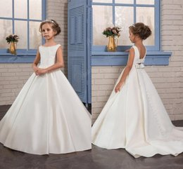Wholesale White Royal Purple Ballgown - Girls Wedding Dresses 2017 Pentelei with Beaded Neck and Bows Sweep Train Satin Ballgown Flower Girls Gowns for Weddings