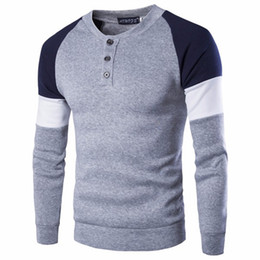 Wholesale England Wool Sweater - 2017 Brand British Style Mens Fashion Casual Sweater Stitching Button Decorated Crew Neck Plus Size Mens Sweaters Tops