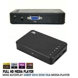 Wholesale Vga Media - Wholesale-Full HD Media Player Mini Autoplay 1080p SD U Disk HDD Media Player With AV VGA SD Output Support MKV H.264 RMVB WMV