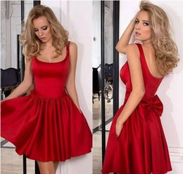 Wholesale Elegant Scooped Back Cocktail Dress - 2017 New Cheap Elegant Little Short Red Satin Cocktail Dresses Formal Women Party Dress Side Pocket Back With Bow Homecoming Graduation Gown