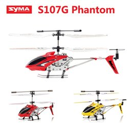 Wholesale Alloy R C Helicopter - Original Syma S107G S107 3.5CH RC flying toy gyro Radio Control Metal alloy fuselage R C Helicoptero Mini Co-Axial copter toy