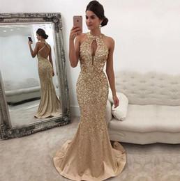 Wholesale Luxury Ladies Dress Prom - Free Shipping High Quality Custom 2018 New Gold Luxury Drill Long Evening Dress Female Slim Fish Tail Sexy Halter Ladies Prom Dresses HY1834