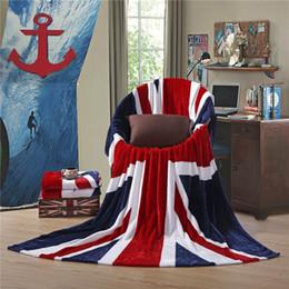 Wholesale Multifunction Blanket - 2017 Hot British flag American Flag Multifunction Blankets Soft Fleece Thin Plaid print Air Sofa Throw Blanket Free Shipping