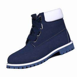 Wholesale Air Man Max - Vetements Style Air Max 87 Mens Martin Boots Deep Blue Authentic Leather Ankle Shoes with Waterproof Rubber for Men 371130