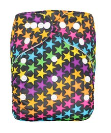 Wholesale Diaper Guard - High quality baby cloth diapers nappies washable reusable one size fit all stars pocket printed waterproof leak guard snap closure