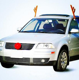 Wholesale Car Dark Red - 2017 Reindeer Antlers & Red Nose Car Kit Set Car Decoration Fun Rudolph Reindeer Ears for All Vehicls Car Ornaments Xmas Gifts