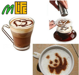 Wholesale Basket Tools - 16Pcs Set Mold Coffee Milk Cake Cupcake Stencil Template Coffee Barista Cappuccino Template Gusto Strew Pad Duster Spray Tools