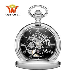Wholesale Bronze Pocket Watch Mechanical - NEW Hot Brand OUYAWEI Brand Mechanical Hand Wind Pocket Watch Silver Black Stainless Steel Case Hombre Watch Men