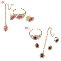 Wholesale Pink Gem Earrings - idealway Gold Plated Flower Rhinestone Red Gem Earrings Necklace Ring Bracelet Jewelry Set 12 pieces lot