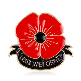 Wholesale Cheap Onyx - (12 pcs lot )Free Cheap Wholesale Lot Very Beautiful Sparkl Red Poppy Brooch Pins UK Remembrance Day