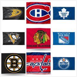 Mannschaftsflaggen online-Pittsburgh Penguins Team Toronto Ahornblätter Boston Bruins Edmonton Oilers Hockey Team Flaggen Fußball Baseball Champion Flaggen 150 * 90 CM Flagge