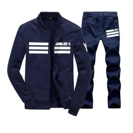 Wholesale mens casual sweat suits - Men Sportswear Hoodie And Sweatshirts Autumn Winter Jogger Sporting Suit Mens Sweat Suits Brand Tracksuits Set free shipping