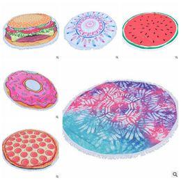 Wholesale Table Cloth Tassel - 16 Designs Pizza Donuts Hamburger Tassel Round Beach Towel Mandala Blankets Microfiber Beach Towel Yoga Picnic Mat Table Cloth CCA5947 10pcs