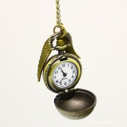 Wholesale Men Real Watches - Wholesale-Harry HB necklace vintage bronze color punk steampunk quartz pocket real watch pendant snitch wings necklace for men women